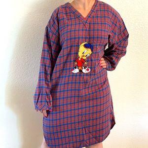 Warner vintage tweety plaid flannel pajama dress L